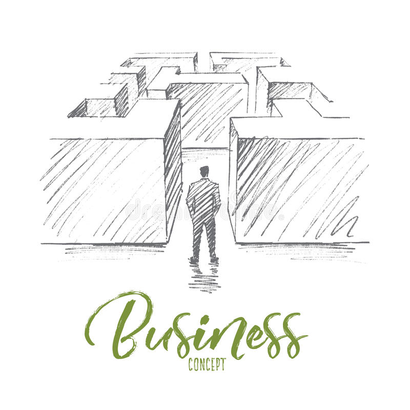 Hand drawn businessman in maze with lettering royalty free illustration