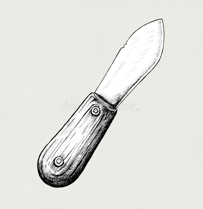 Hand drawn butter knife illustration royalty free stock photography