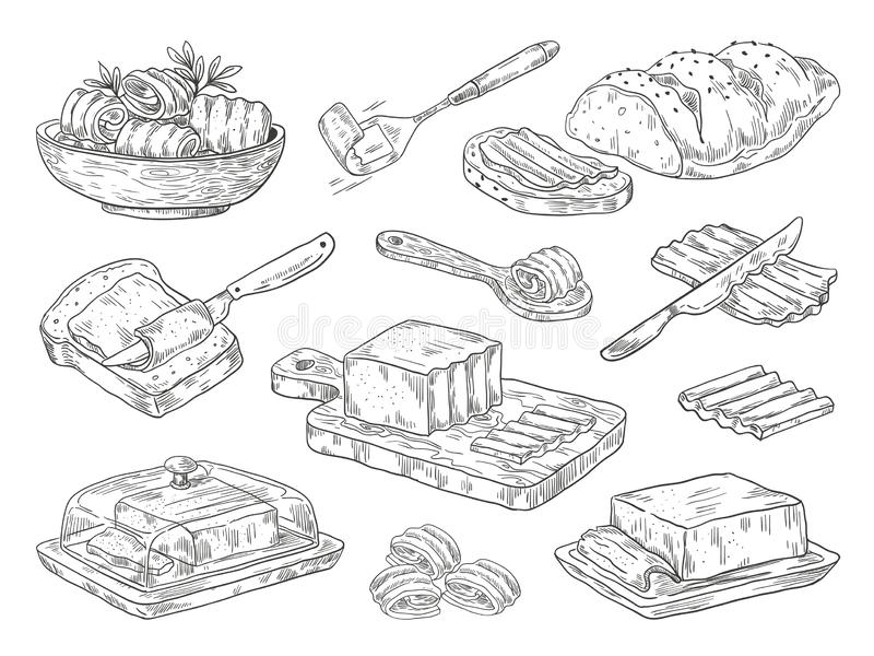 Hand drawn butter. Sketch breakfast culinary ingredient, drawn compositions with bread and butter. Vector doodle set. Hand drawn butter. Sketch breakfast royalty free illustration
