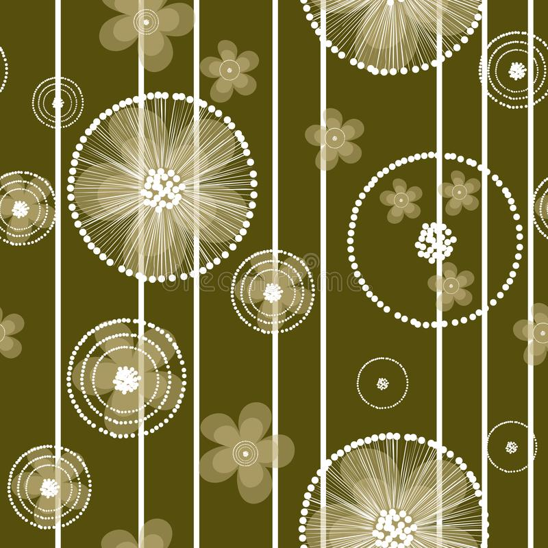 Hand drawn buttercup flowers and stripes on olive background royalty free illustration
