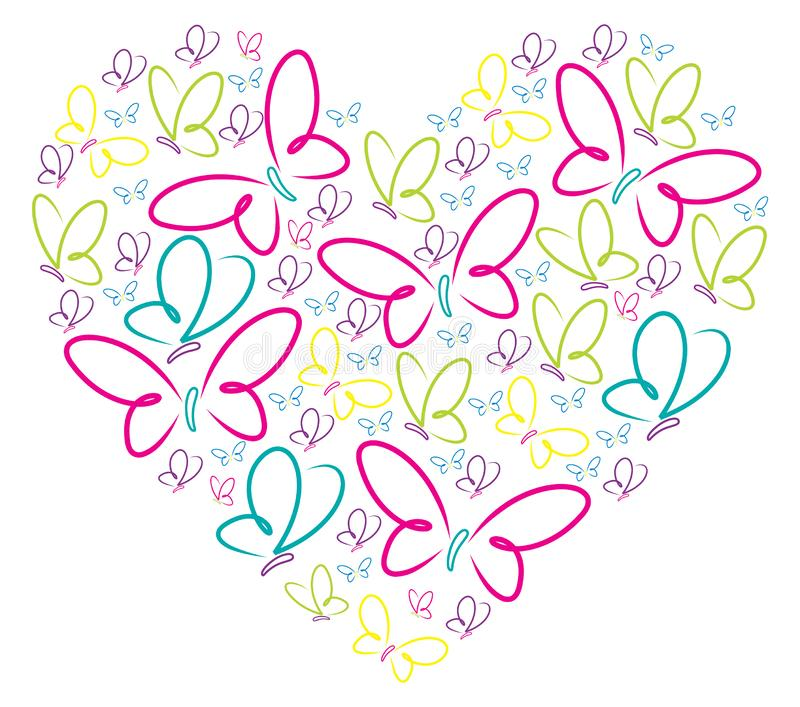 Hand drawn butterflies heart royalty free illustration