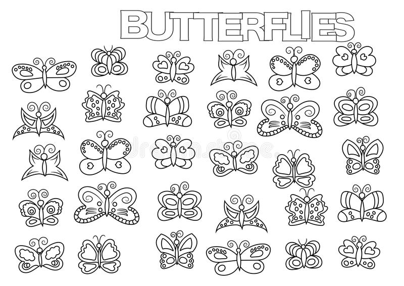 Hand drawn butterflies set. Coloring book page template. vector illustration