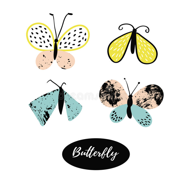 Hand drawn butterfly logo design collection. Vector elements. stock illustration