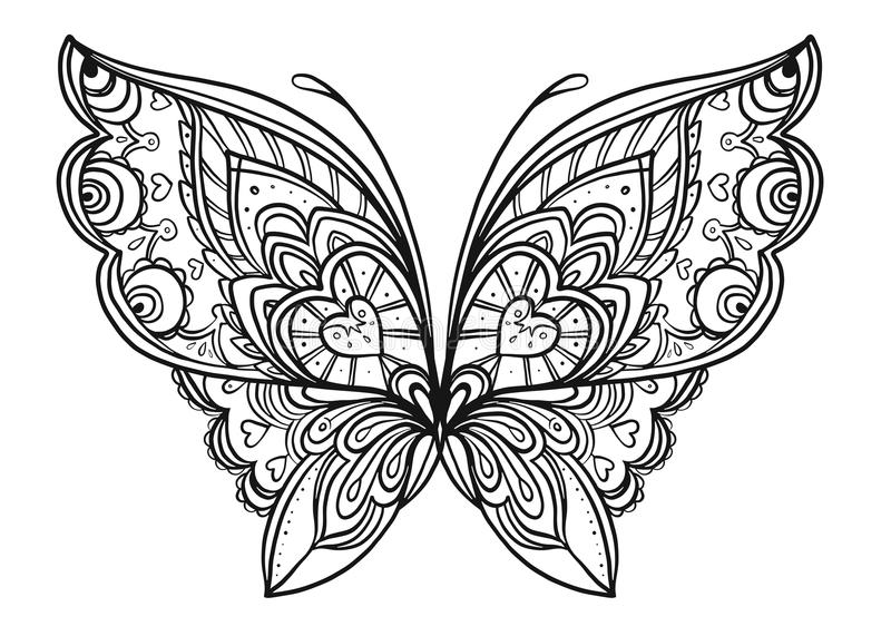 Hand Drawn Butterfly Zentangle For T-shirt Design Or ...