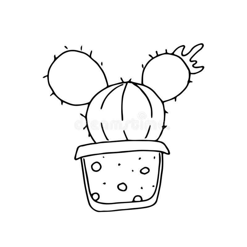 Hand drawn cactus in pot on a white background.  royalty free illustration