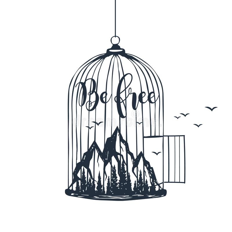 Hand drawn cage with mountains vector illustration. stock illustration