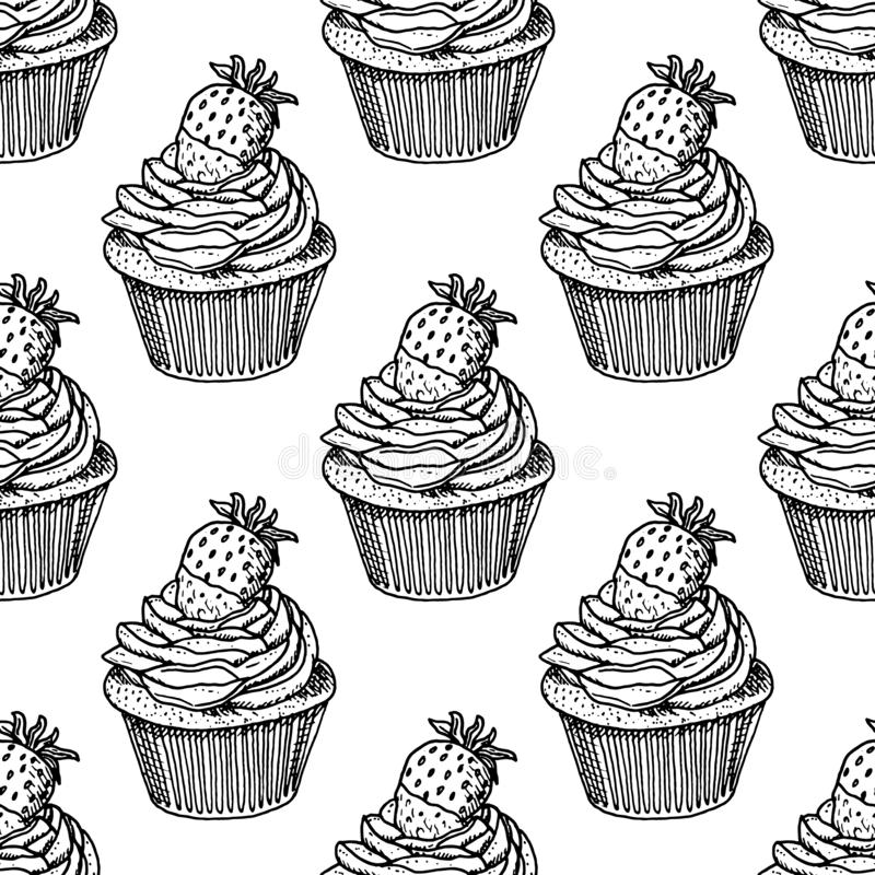 Hand Drawn cake with strawberries doodle. Sketch style icon. Seamless pattern. Isolated on white background. Flat design. Vector. Illustration, dessert vector illustration
