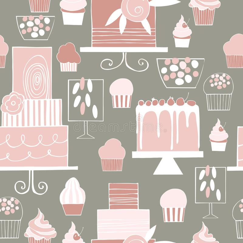 Hand drawn cakes and cupcakes. Wedding dessert bar with cake. Sw vector illustration