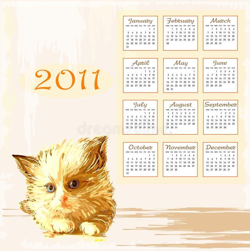Hand Drawn Calendar 2011 Royalty Free Stock Image