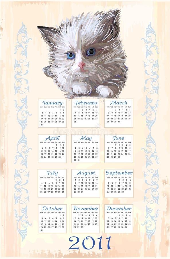 Download Hand drawn calendar 2011 stock vector. Image of kitten - 17155816
