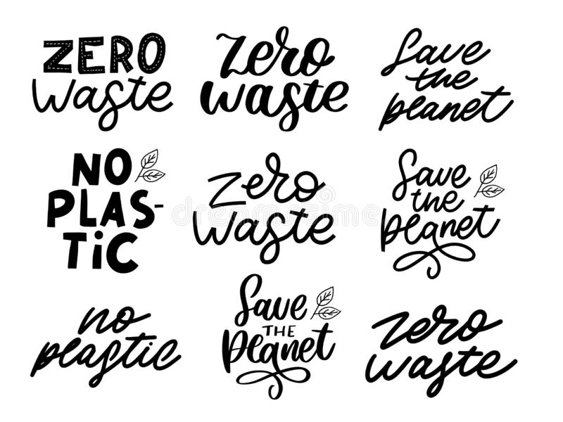 Hand Drawn Calligraphic Organic Icons Set Zero waste, Vegan, Save the planet, no plastic. Hand Drawn Calligraphic Organic Icons Set, vector, logo, food, label stock illustration