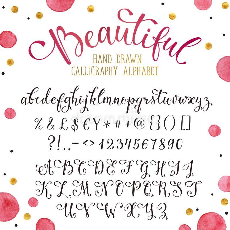 Hand drawn calligraphy font stock illustration