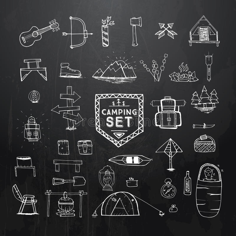 Hand drawn camping, hiking or mountain climbing icons set on black. vector illustration