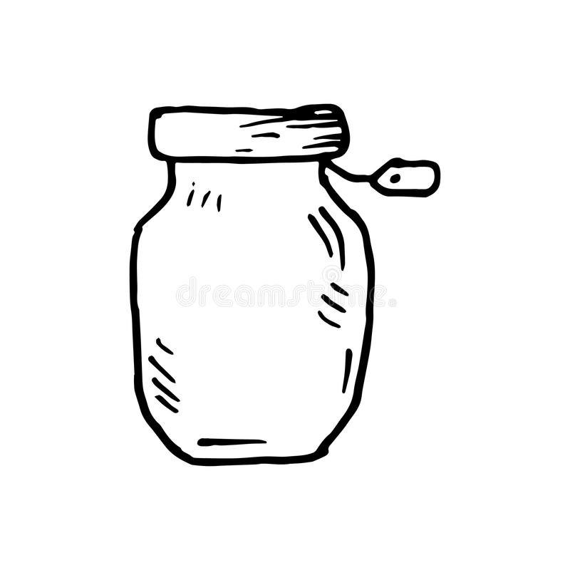Hand Drawn canning bank doodle. Sketch style icon. Decoration element. Isolated on white background. Cartoon design. Vector illus. Tration stock illustration
