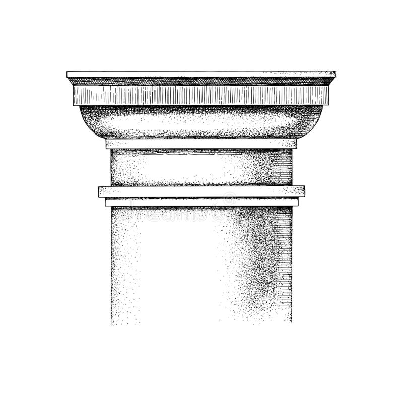 Hand drawn Capital of the Tuscan order royalty free illustration