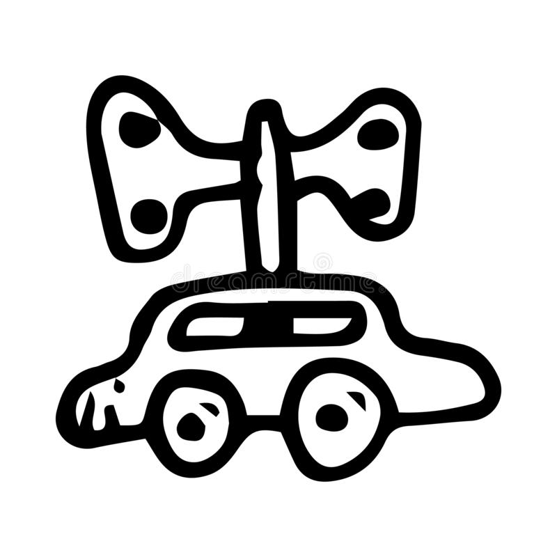 Hand drawn car doodle. Sketch children's toy icon. Decoration element. Isolated on white background. Vector illustration. Art, auto, automobile, black vector illustration