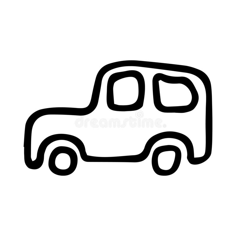 Hand drawn car doodle. Sketch children's toy icon. Decoration element. Isolated on white background. Vector illustration. Art, auto, automobile, black stock illustration