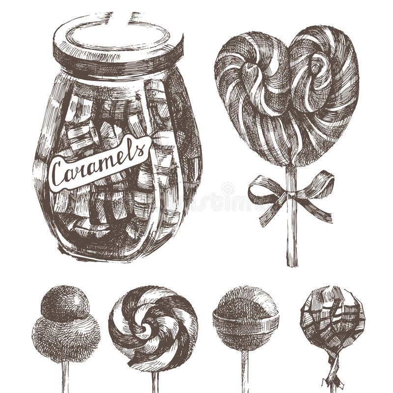 Hand drawn caramels set. In retro style vector illustration