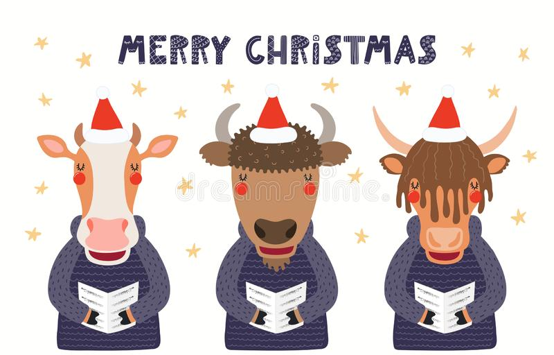 Cute singing animals Christmas card royalty free illustration