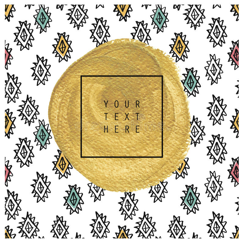 Hand drawn card or poster. Gold texture. Ink cute illustration. Aztec gold. Indian pattern. Trendy boho style, Gift card design for birthday, invitation vector illustration