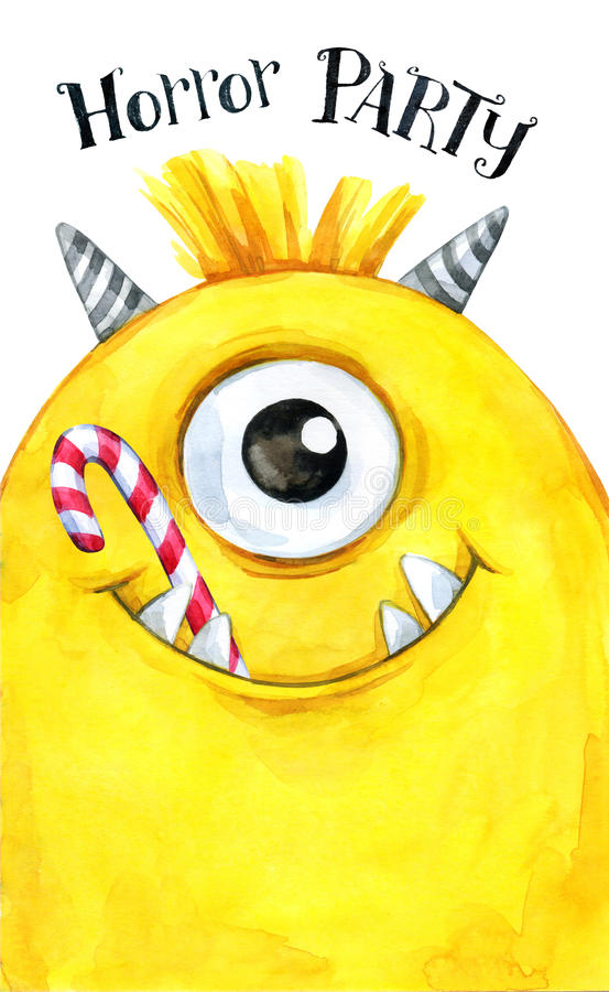 Hand drawn card. Watercolor head of a monster with sweets in the mouth. Celebration illustration. Cartoon horror party. Funny beasts. Baby background. Can be stock illustration