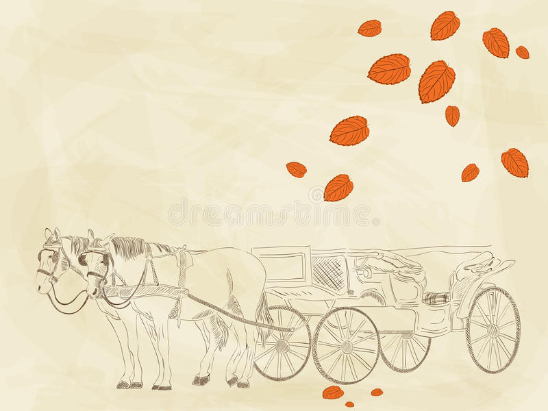 Hand drawn carriage royalty free illustration