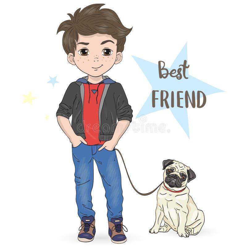 Free Hand Drawn Cartoon Boy With Dog Pug. Stock Photos - 125913323