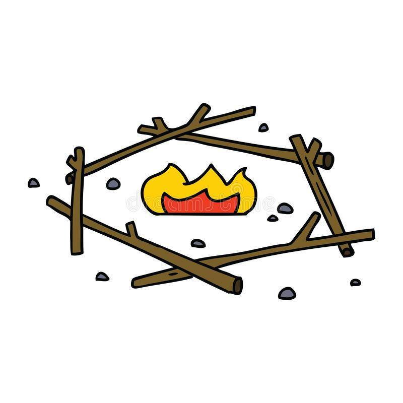Hand drawn cartoon doodle of a camp fire. A creative cartoon doodle of a camp fire stock illustration
