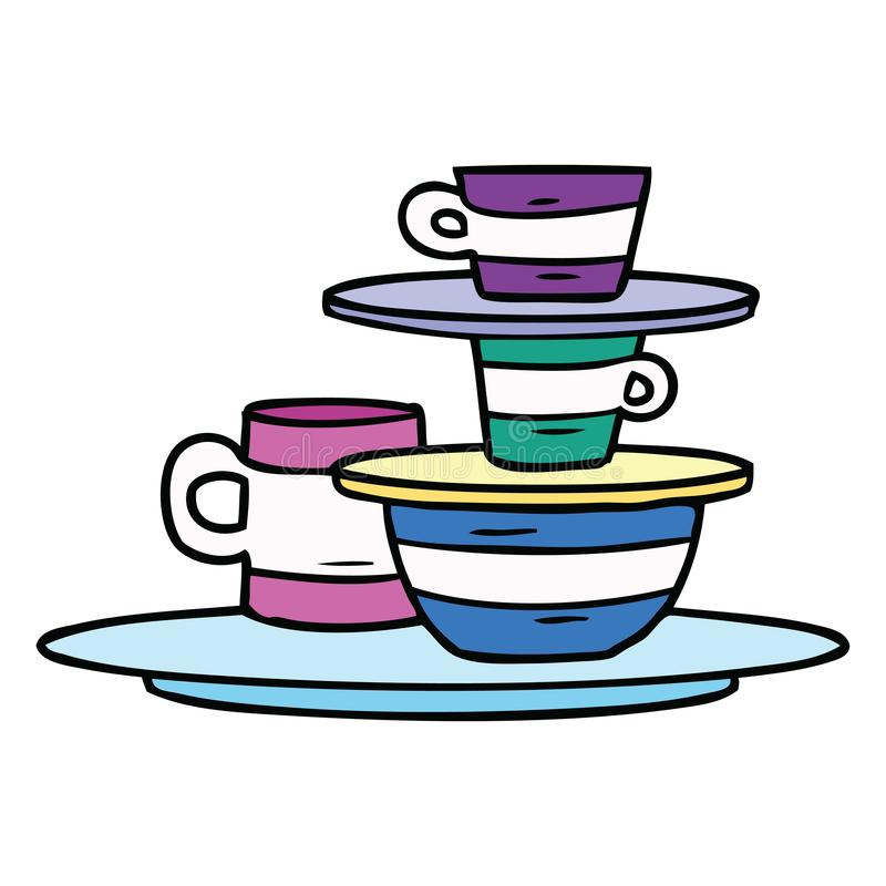 Hand drawn cartoon doodle of colourful bowls and plates. A creative cartoon doodle of colourful bowls and plates royalty free illustration