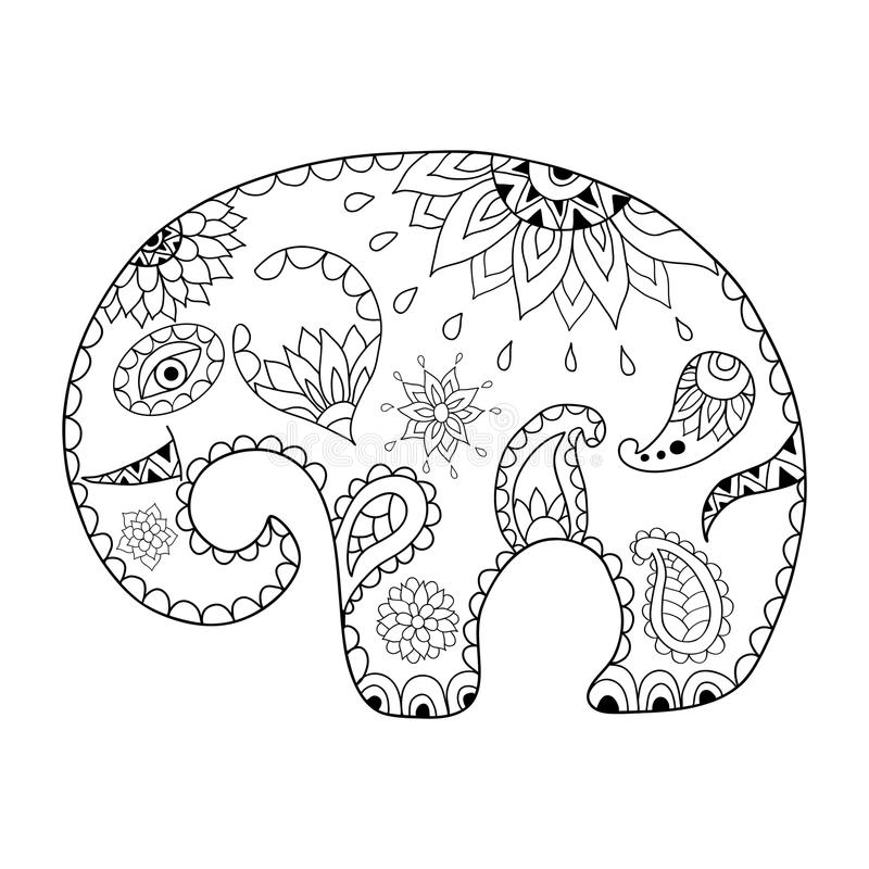 Hand drawn cartoon elephant for adult anti stress colouring page. Pattern for coloring book. Made by trace from sketch. Illustration in zentangle style royalty free illustration