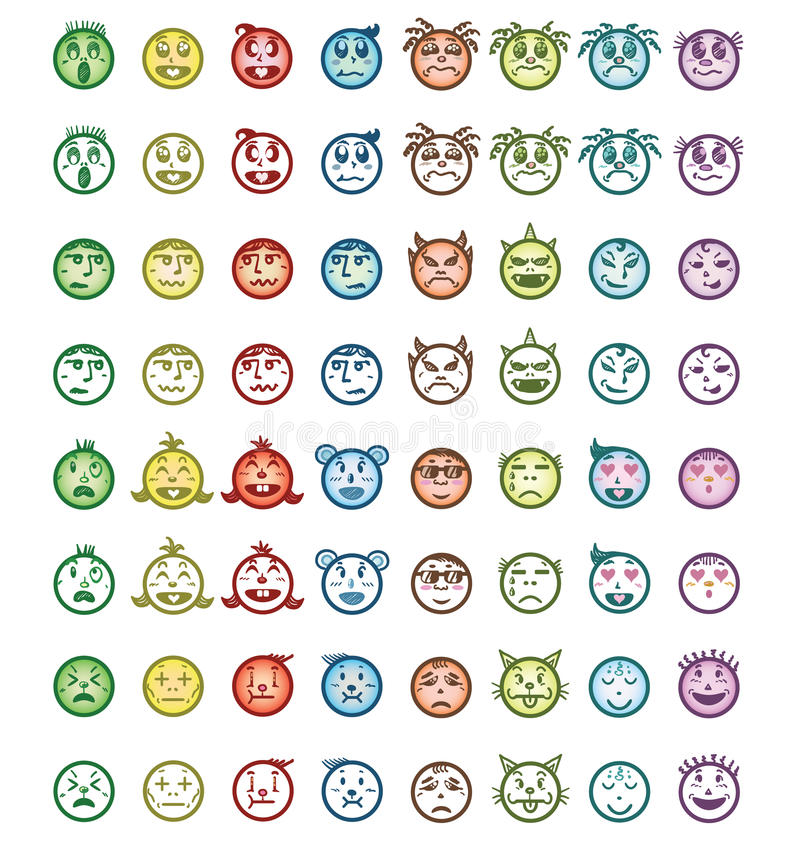Hand drawn cartoon faces with difference emotions stock photo
