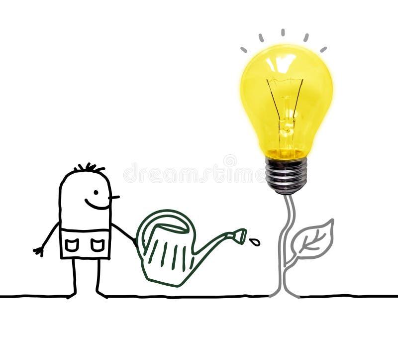 Cartoon gardener Watering a Fresh new Light Bulb royalty free illustration