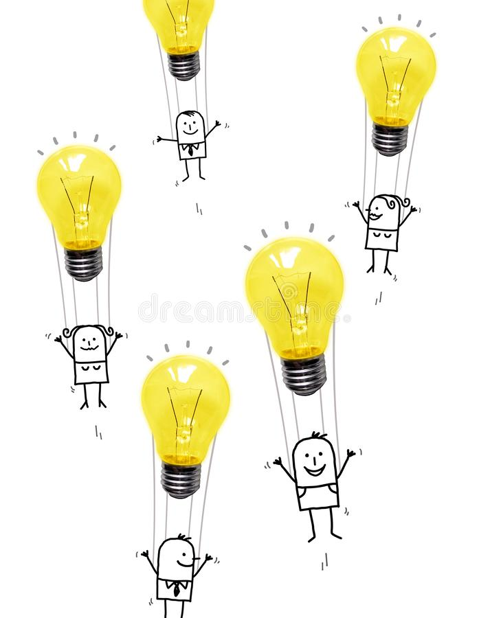 Cartoon People in the Air with Light Bulbs Balloons vector illustration