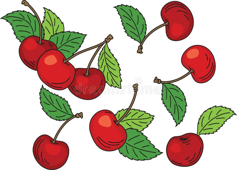Hand drawn cartoon red ripe cherries with green leaves stock images
