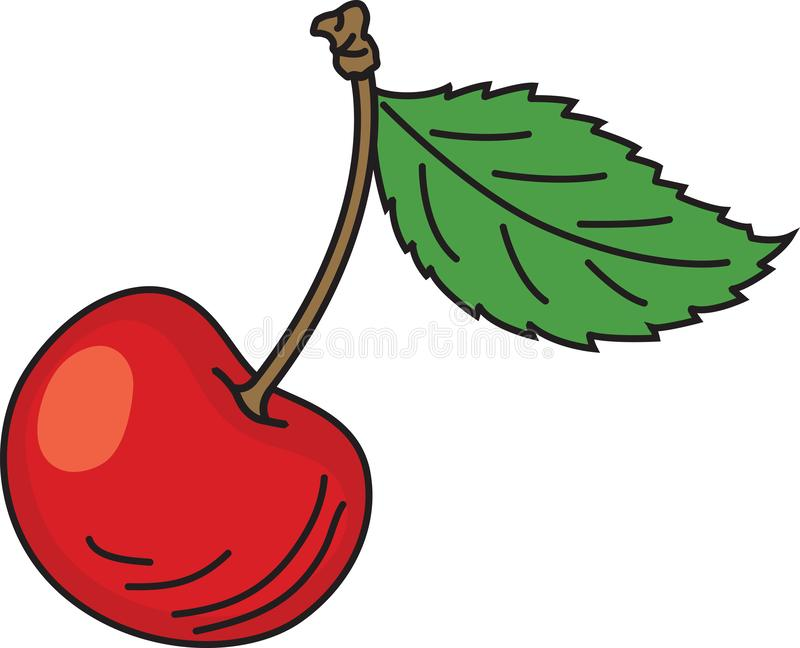 Hand drawn cartoon red ripe cherries with green leaves royalty free stock photos