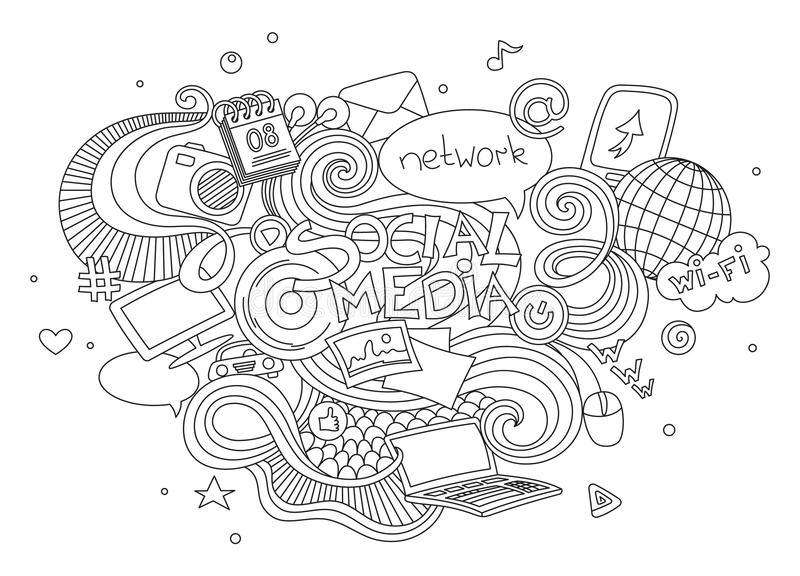 Hand drawn cartoon vector doodle illustration set of social media sign and symbol elements. on white background.  vector illustration