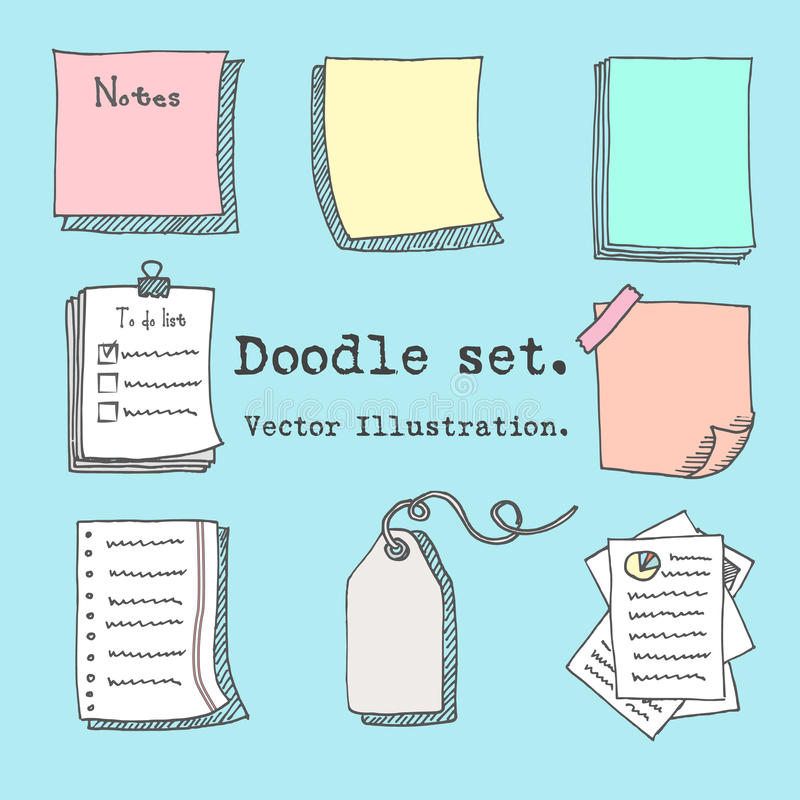 Hand drawn cartoon vector set of paper sheet, pack of paper, tag, sticky note, notepad page with pin, scotch tape and paperclip. D vector illustration
