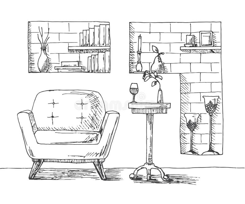 Hand drawn chair, desk, niche in the wall with shelves. On the table is a glass and a vase with a flower. On the shelves of books vector illustration