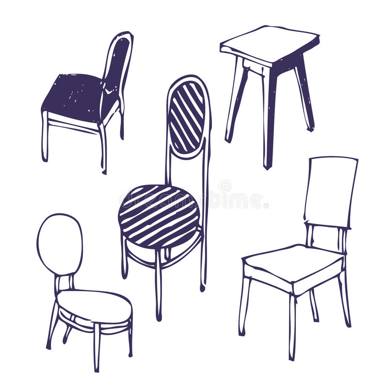 Hand-drawn Chairs. Isolated Stock Illustration