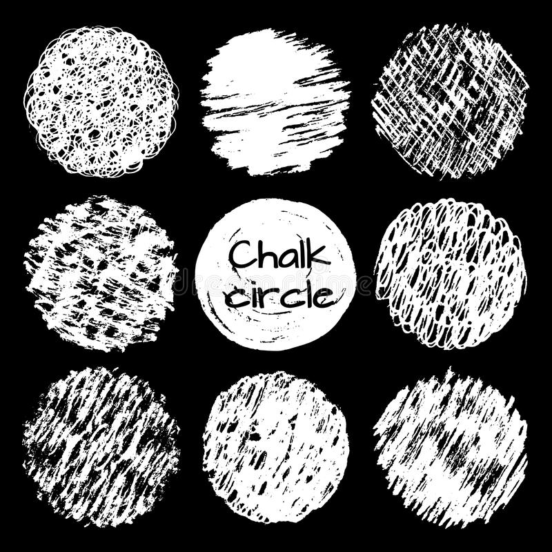 Hand drawn chalk lines scribbles circles different textures set. royalty free stock images