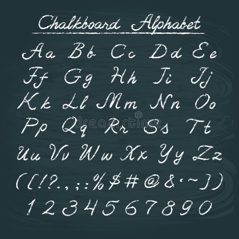Hand drawn chalkboard alphabet. With numbers and punctuation marks stock illustration