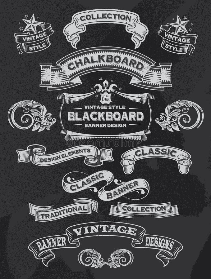 Vintage Chalkboard Banner and Ribbon Set. Retro calligraphic vintage ornament design elements