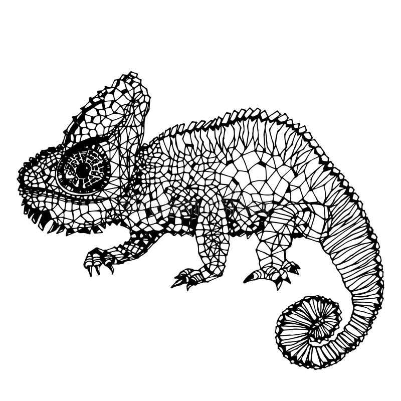 Download Hand Drawn Chameleon Page Stock Vector Illustration Of Black