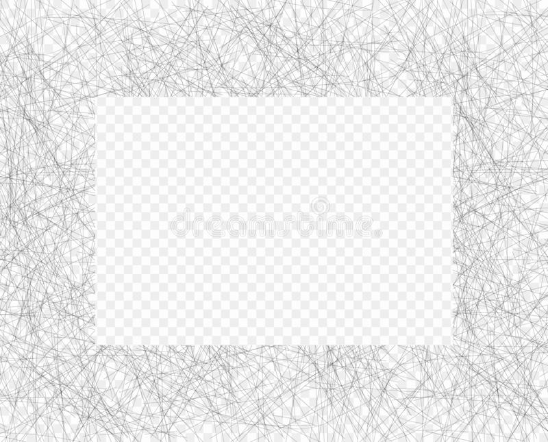 Hand drawn chaotic line shading pencil frame. Oblique grey thin scribble, Doodle, daub. Vector overlay. Isolated background. Hand drawn chaotic line shading vector illustration