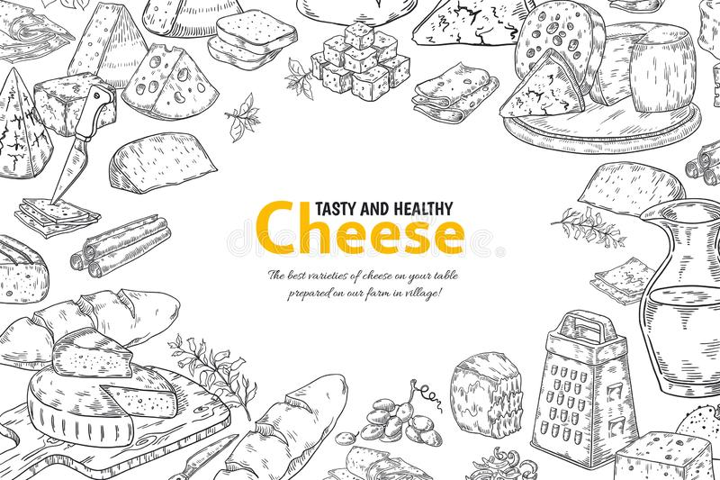 Hand drawn cheese background. Organic Italian food and snacks sketch, restaurant menu design. Vector table with products royalty free illustration