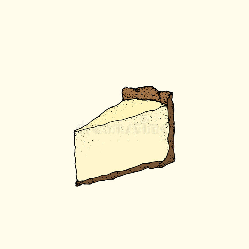 Hand drawn cheesecake. Hand drawn vector illustration of cheesecake in retro style. object. Great for restaurant or cafe menu design, recipe or product label stock illustration