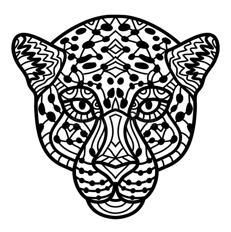 Download Hand Drawn Cheetah With Ethnic Doodle Pattern Coloring Page