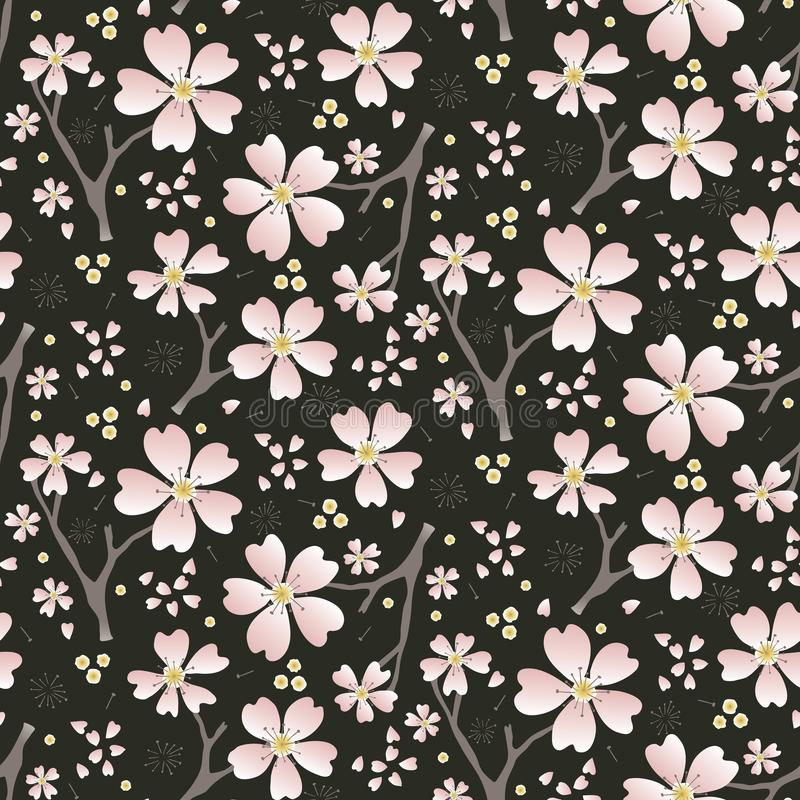 Hand drawn cherry blossom seamless pattern. Japanese sstyle tossed moody dark floral ditsy background. Soft pink neutral tones. royalty free illustration