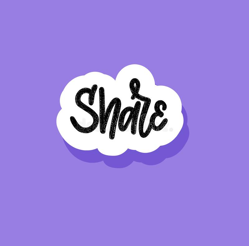 Hand-drawn childlike doodle like word in cloud. Blogging and social networks icon. Design royalty free illustration