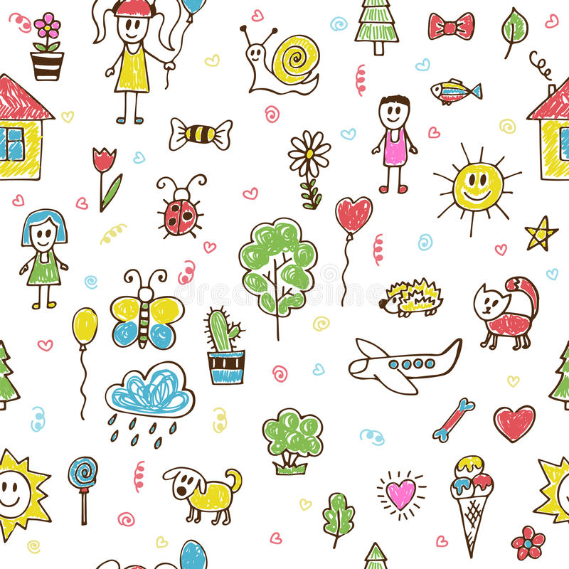 Hand drawn children drawings color seamless pattern. Doodle chil. Dren drawing background. Vector illustration vector illustration